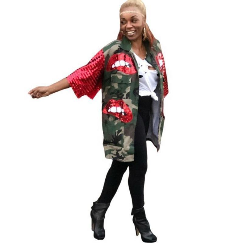 Herbst Camouflage Jacke Frauen Pailletten 3/4 Ärmeltasche Lange Outwear Mode Rote Paillettenlippen Patchwork Streetwear Jacken Frauen