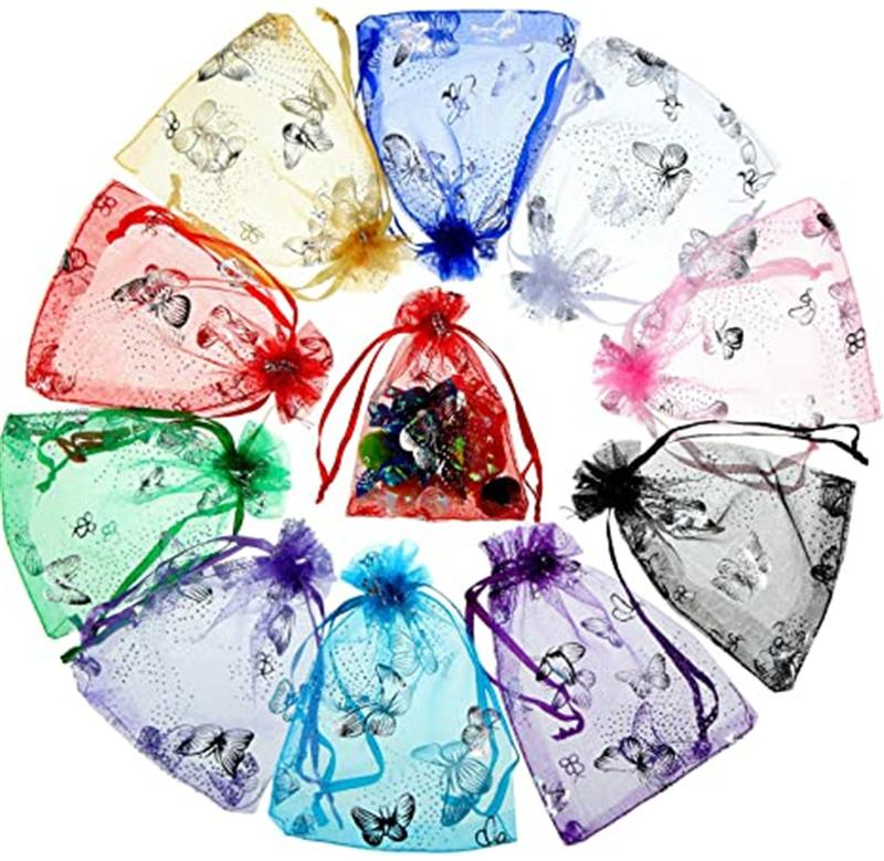 100pcs / lote Bolsas de organza con cordón para anillos Pendientes Bolsa de joyería Boda Baby Shower Cumpleaños Paquete de regalo de Navidad