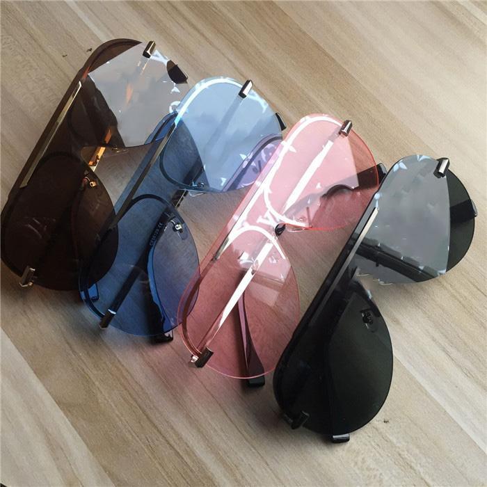 Männer Frauen Gläser Stilvolle Randlose Sonnenbrille UV-Schutz beschichtete Linsen Cat Eye No Box