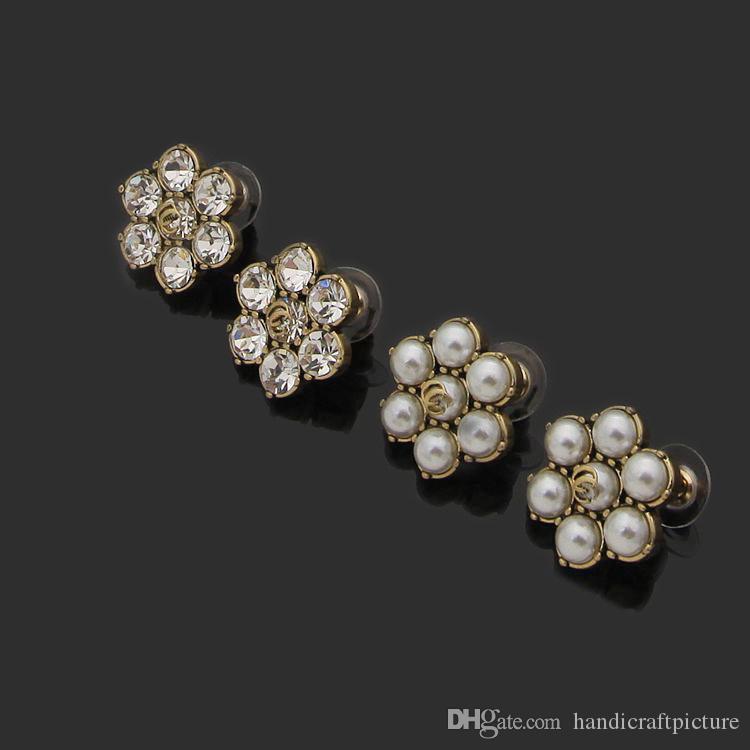 الفاخرة والمجوهرات أنثى مصمم أقراط الزهور اللؤلؤ مع أقراط الماس الرجعية الأقراط الصفراء 2021 هدية عطلة الاتجاه الجديد