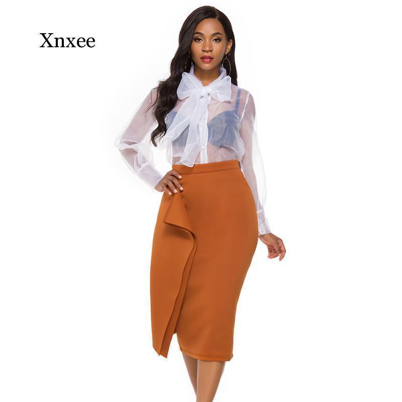 Chic Elegante Hohe Taille Midi Bleistiftröcke Frauen Unregelmäßige Bodycon Mode Slim Noble Weibliche Paket Femme Hip Office Rock X0428