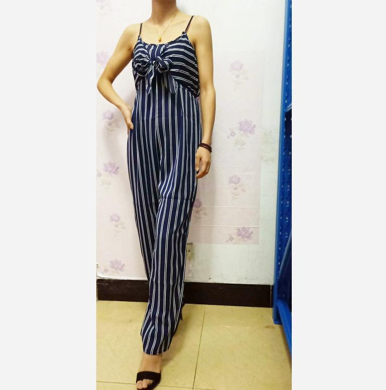 Women's Jumpsuits & Rompers Ladies Striped One Piece Pants Sexy Long Soft Sleeveless