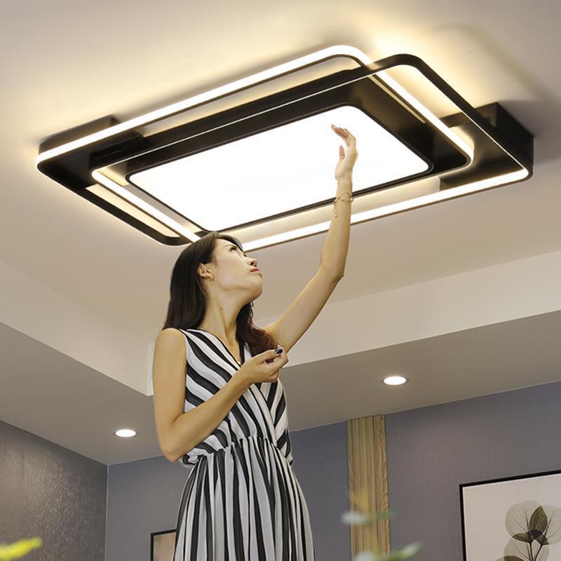 원격 Dimmable 사각형 사각형 조명 거실 침실 주방에 대 한 검은 램프와 현대 LED 천장 조명