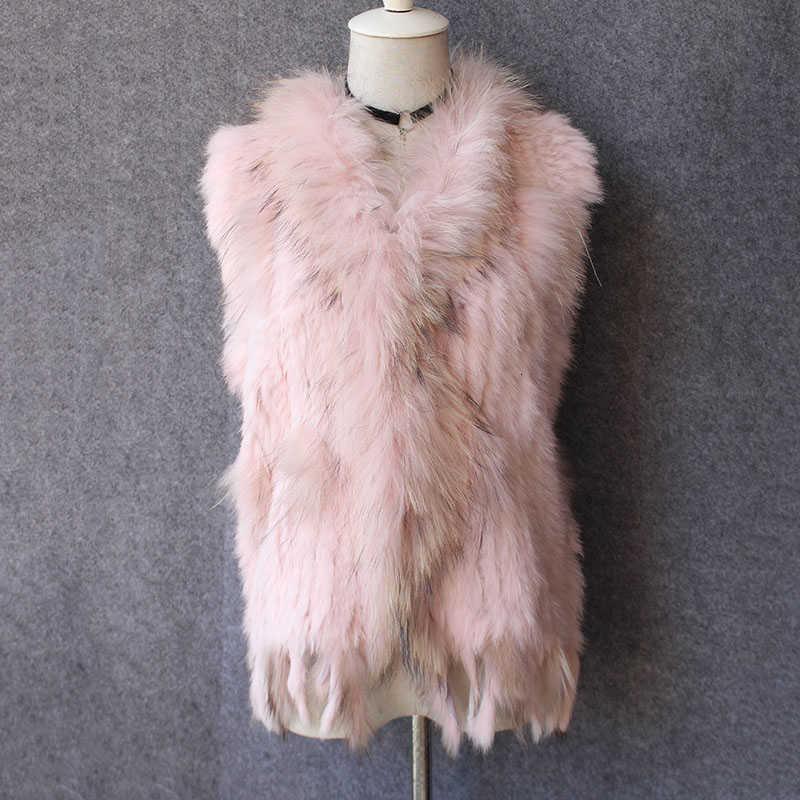 Подлинный настоящий меховой жилет для женщин для женщин натуральные цвета мода натуральный мех жилет с енотным меховым воротником и кисточками Femme T191118