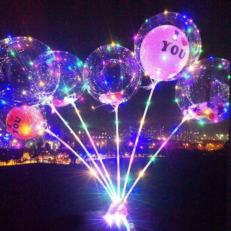 Palloncino LED con bastoni luminosi trasparente elio trasparente chiaro bobo ballons matrimonio festa di compleanno decorazioni per bambini LED palloncino leggero 1943 V2