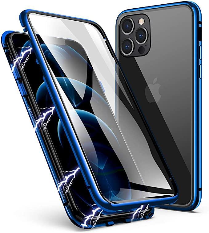 Magnetico Adsorbimento in metallo Caso in metallo anteriore e posteriore vetro temperato copertura a schermo intero per iPhone 11 Pro Max XR XS Max 6 7 8 Plus 100pcs / lot