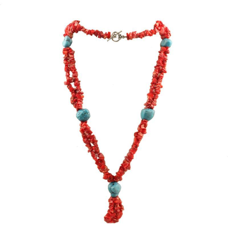 Colar multi-camada cascalho vermelho nelace coral com intervalo de turquesa e nelace de camisola feminina nostálgica