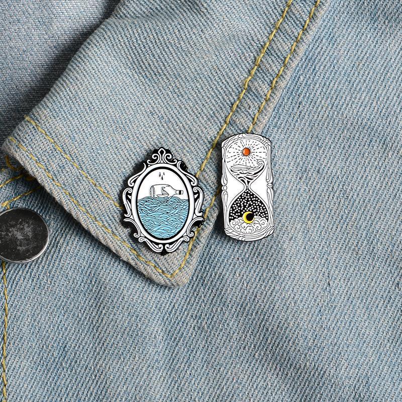 Zauberspiegel Emaille Pin Einfache Sonne und Mond Sanduhr Zeit bestanden Abzeichen Broschen Hemd Jacken Tasche Revers Pin Schmucksachen Freunde Geschenk 710 T2