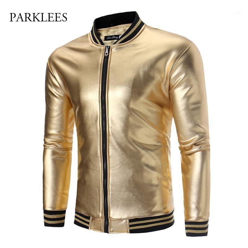 Parlak Altın Gece Kulübü Metalik Ceket Erkekler Sonbahar Kış Artı Kadife Slim Fit Çizgili Bombacı Mens Ceketler Bronzlaşma Giysileri Sahne1 Erkekler
