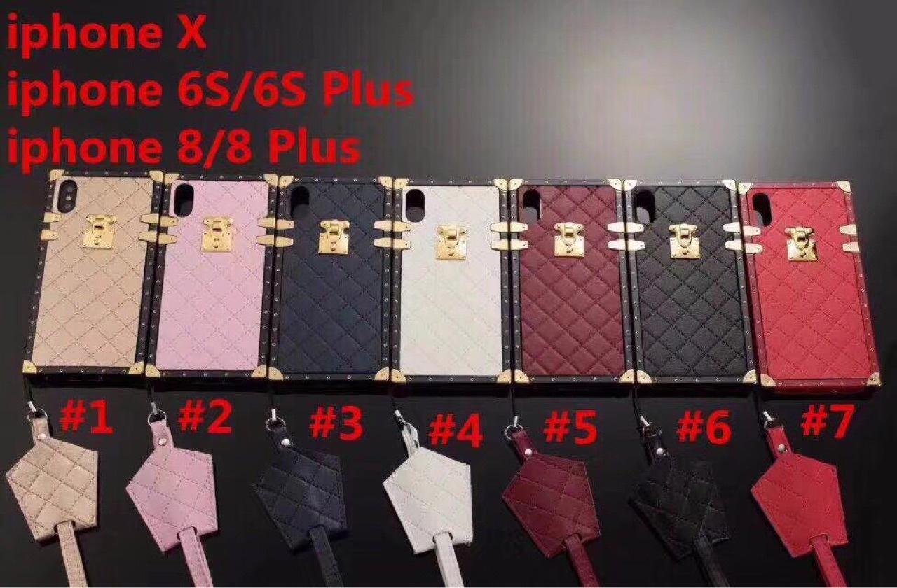 حالة الهاتف الخليوي للحالات فون 12 برو ماكس ميني 11 XR XS 7/8 زائد Samsung S9 S10E الجلود Lanyard Metall Lanyard