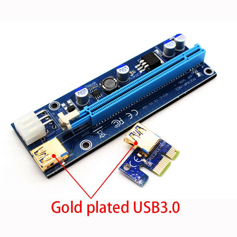 Updated Version VER009S Risers Card With 3 LED Lights Gold Plated USB 3.0 1X to 16X 6PIN PCIE Riser Cards for Bitcoin Mine