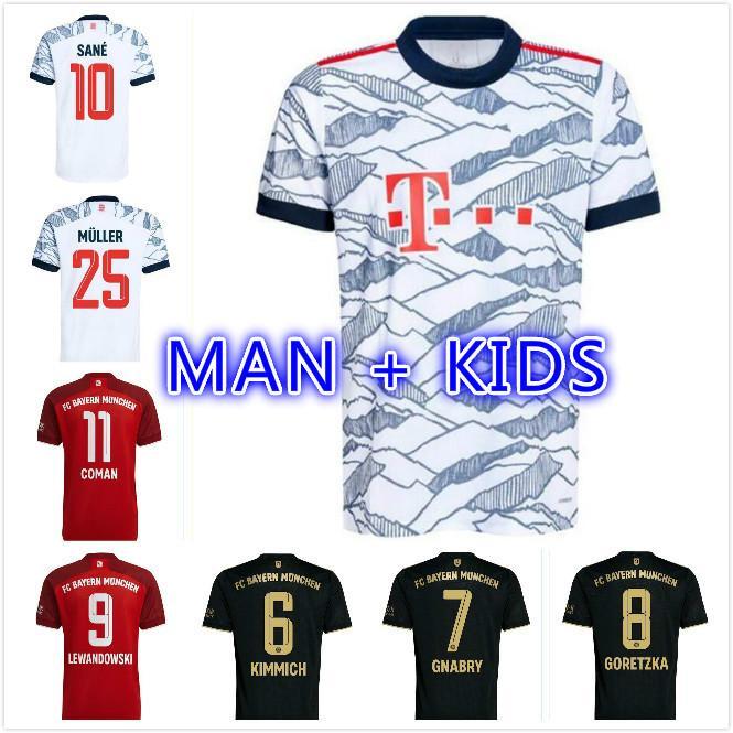 Bayern Futbol Forması 21 22 Lewandowski See Goretzka Münih Coman Muller Davies Futbol Gömlek Erkekler + Çocuk Kiti 2021 2022 Humanrace Dördüncü Dördüncü Tops
