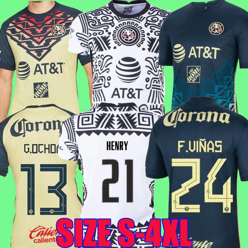 لاعب نسخة Liga MX 21 22 Club America الصفحة الرئيسية لكرة القدم الفانيلة 2021 2022 g.oshoa هنري f.viñas camisas دي futbol التدريب طويل الأكمام قميص كرة القدم 2xl 3xl 4xl المرأة