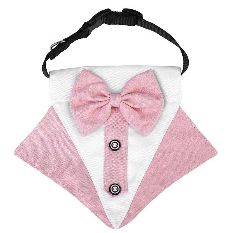Dog Apparel 2 Pcs Cute Fashion Bow Tie Suit Style Collar Adjustable Necklace Chain Cool