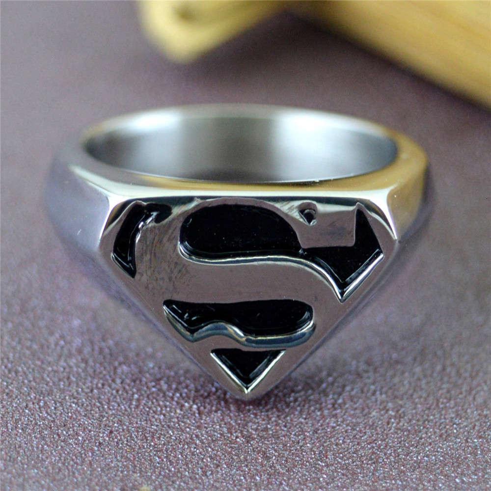 Joyería de moda Trendy Man Personalidad Titanio Acero Superman Ring Regalo STR240