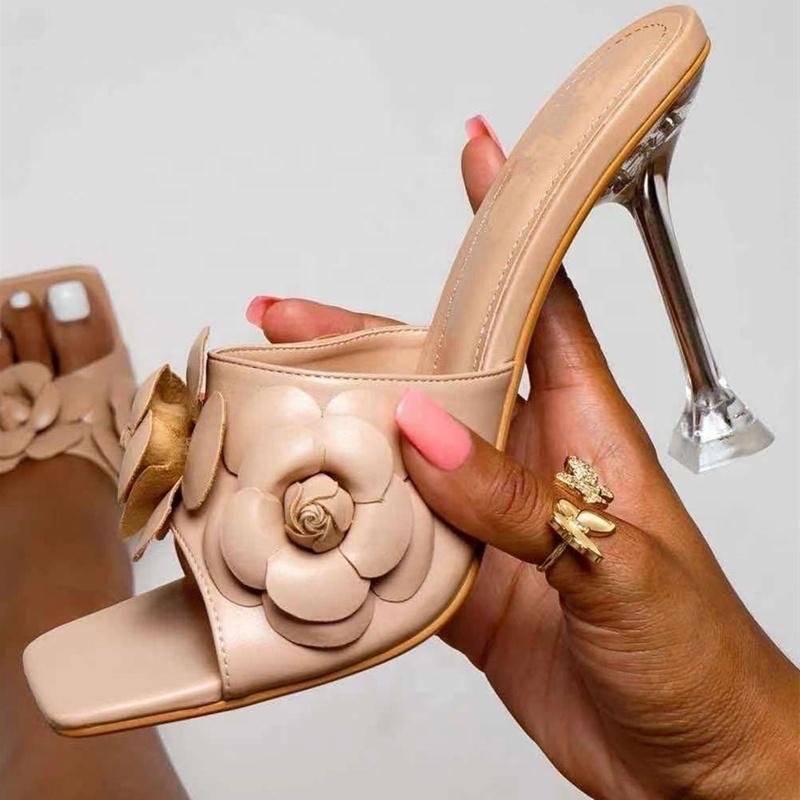 Sandals Glass Kitten High Heel Shoes Flower For Women Summer Open Square Toe Slip On Slides Lovely