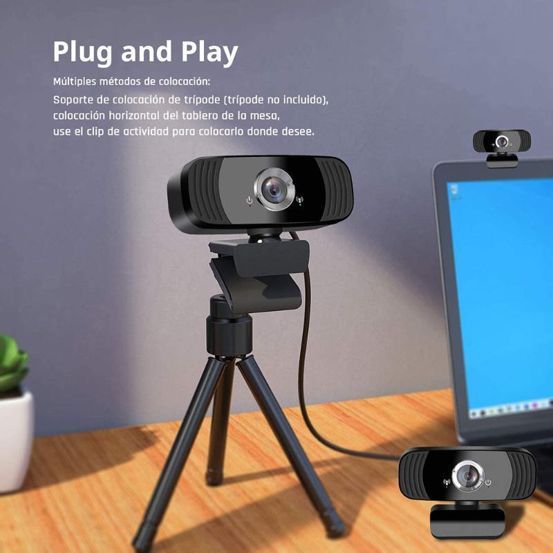웹캠 컴퓨터 네트워크 HD 비디오 라이브 1080P 온라인 컨퍼런스 USB 카메라, 자동 초점, 내장 마이크 노이즈 감소,