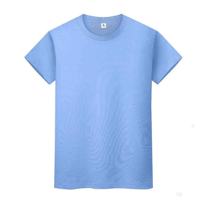 T-shirt de couleur solide ronde en coton à manches courtes à manches courtes et à mi-manches longues