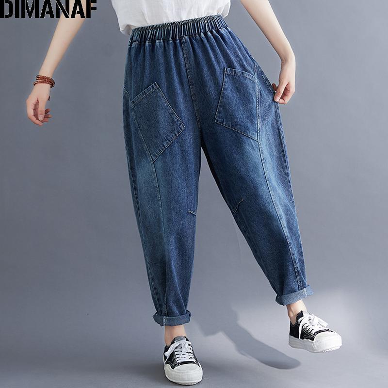 Frauen Jeans Dimanaf Plus Größe Frauen Hosen Vintage Dame Lange Lose Denim Weibliche Hose Pantalones Feste Übergroße Kleidung