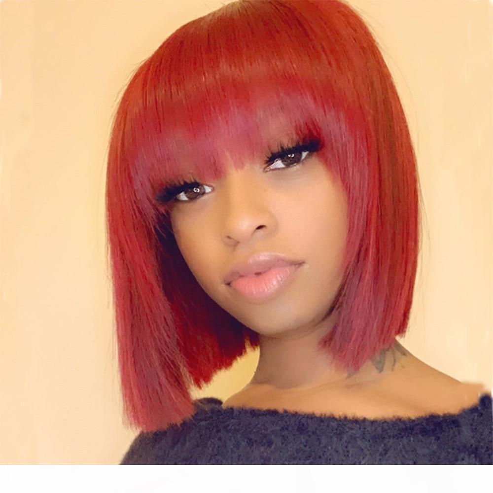 Couleur rouge avec franges bébé cheveux en dentelle frontale courte courte perruque brouillée droite brésilienne Remy cheveux humains