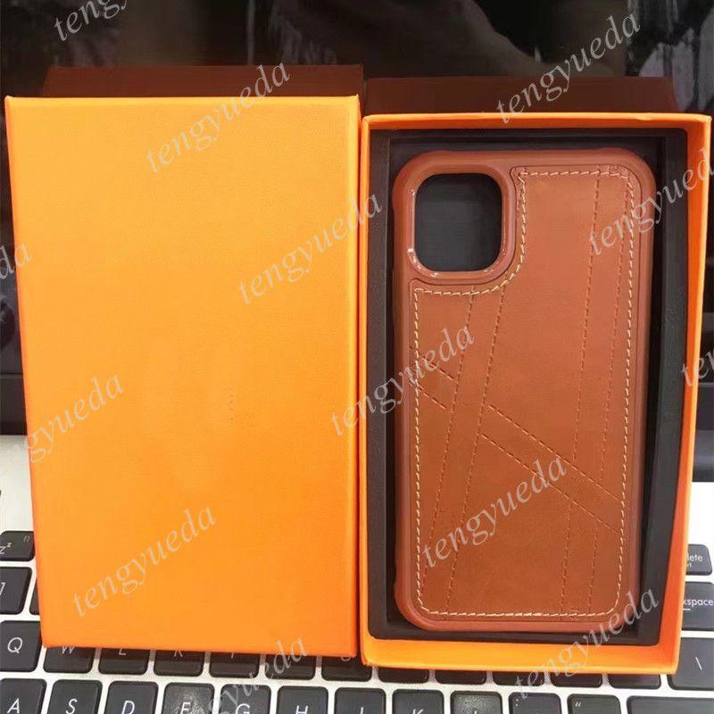 الكلاسيكية أزياء البرتقال الحالات الهاتف الفاخرة لفون 12 12Pro ماكس 11 11PRO XS XR XSMAX 7 8 زائد جودة عالية تنقش مصمم نمط جلدية الهاتف المحمول حالة