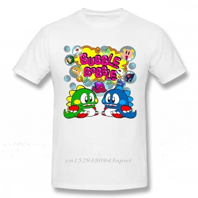 Bubble Bobble الرجعية وحدة تحكم لعبة تي شيرت الرجال مخصص المدرسة القديمة تي شيرت القطن العضوي زائد الحجم تي camiseta 210420