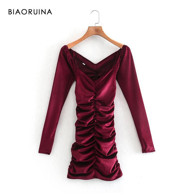 Veludo feminino cor sólida v-pescoço plissado slim estiramento alta cintura elegante vestido curto rua estilo moda mini vestidos casuais