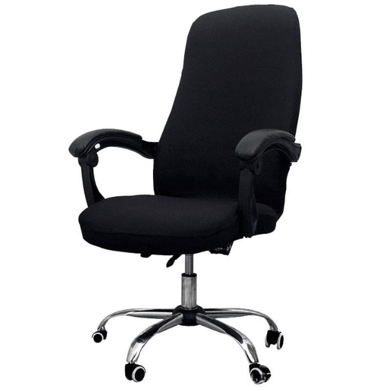 -Office Chair Cover Elastic Siamese Büro Swivel Computer Sessel Schutzabdeckung (Schwarz)
