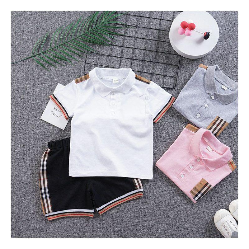 crianças meninas meninos xadrez tracksuit marca moda 2pcs outfits conjunto polo camiseta + calça curta trilhas para crianças roupas de designers
