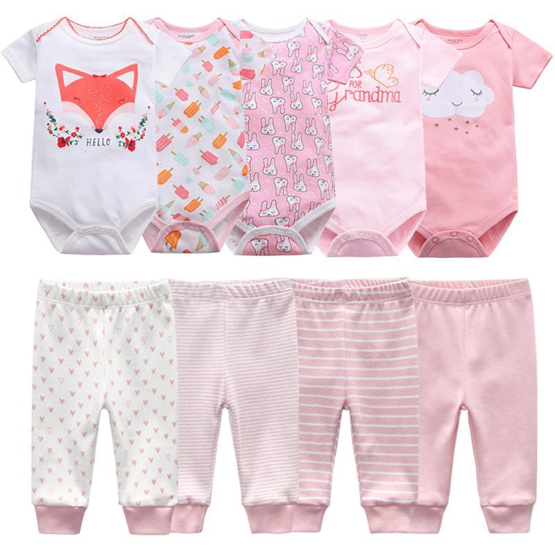 Clothing Sets Born Clothes Set Bodysuits+Pants 7/9Pcs Baby Girl Outfits Pink Sweet Toddler Boy Autumn 0-12M Infant Birth Gift Soft