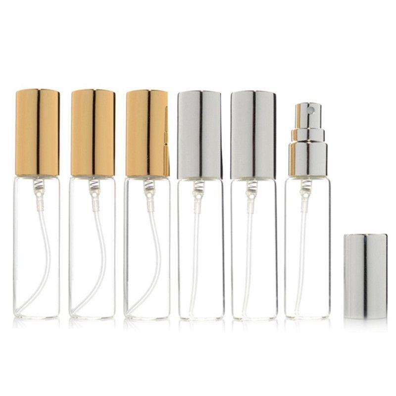 20pcs/lot 5ML 10ML 15ML 20ML Transparent Thin Glass Spray Bottle Sample Vials Portable Mini Perfume Atomizer Gold Silver Cap