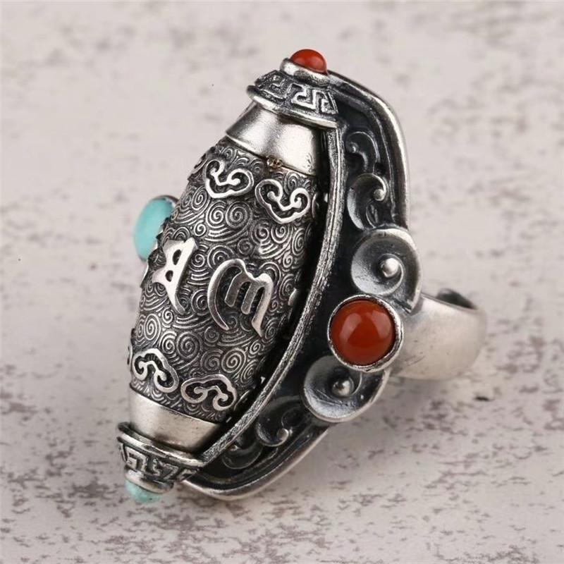 Küme Yüzükler 925 Ayar Gümüş Altı Kelime Mantra Tibet Boncuk Dönen Dönen Namaz Tekerlek Açık Yüzük erkek Otoriter Endeksi Parmak