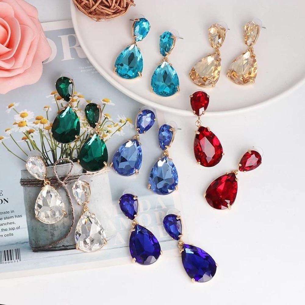 Coréen Sweet Cristal Eau Drop Drop Boucles d'oreilles pour femmes Pendiente Bijoux de luxe de mariage Brincos
