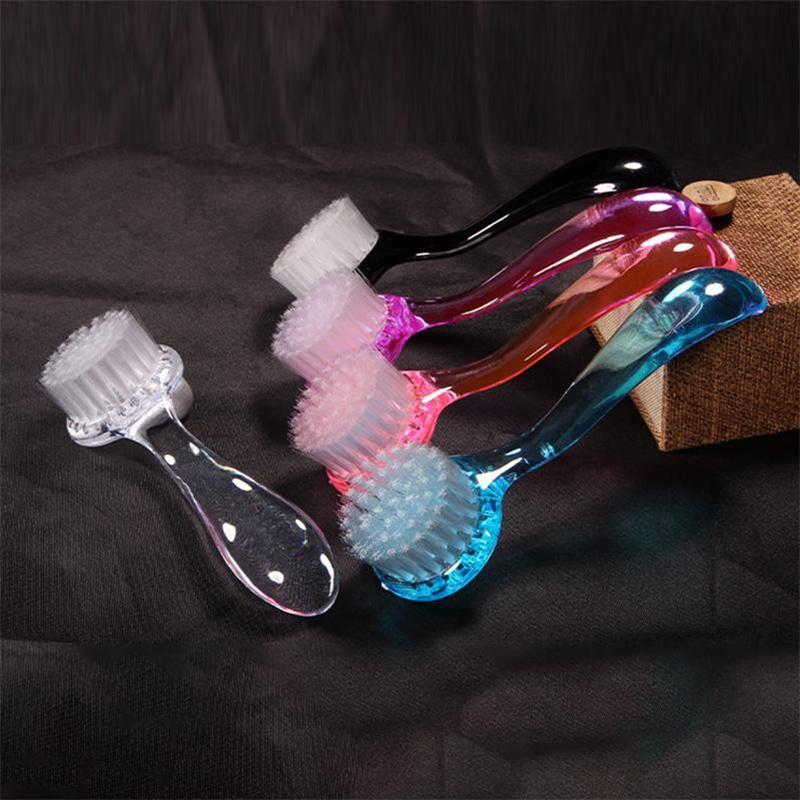 Spazzolino per unghie Testa rotonda con coperchio Strumenti di polvere Moda Manico lungo Plastica Plastica Pennelli detergente multifunzione