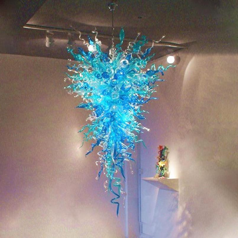 """Lampade Nordic Lamparas Blu Turchese Colore Colore Blown Blown Catena di vetro Lampadari Lampadari 48 """"LED Pendente a LED per la decorazione della casa Soggiorno"""