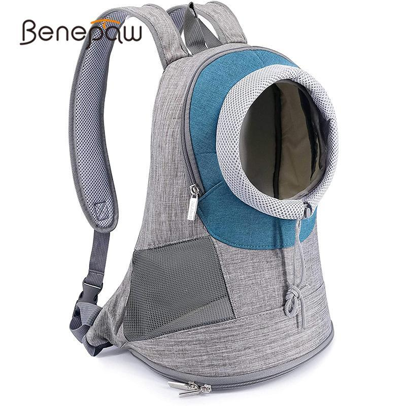 Benepaw Atmungsaktiver Rucksack für Hunde Bequeme verstellbare Loch Gepolsterte Schultergurt Mesh Haustier Tragetasche Anti-Flucht Design Hund Auto Meer