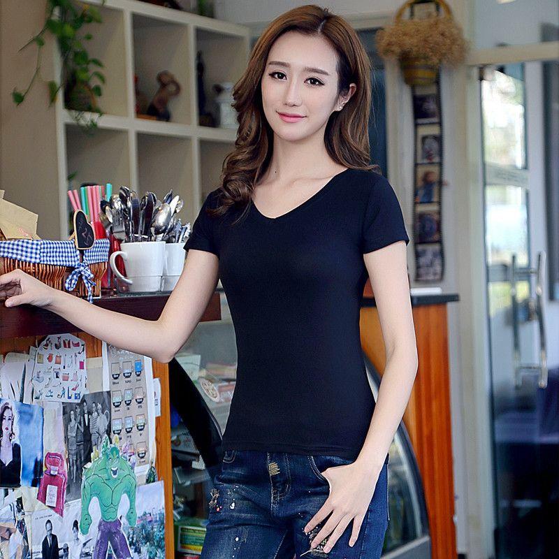 Сладкая красота с коротким рукавом V-образным вырезом Футболка универсальная летняя леди Корейская версия Женская носить плотно приспособление самосовершенствования показать тонкую сексуальную тенденцию
