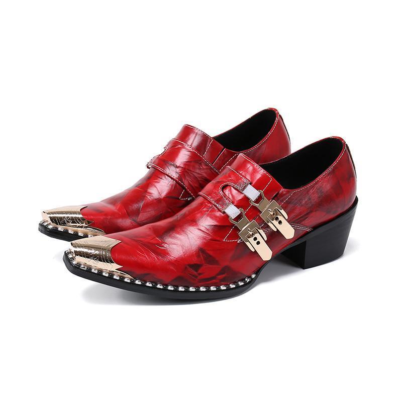 Elbise Ayakkabı Kırmızı Sivri Mens Yüksek Topuklu Kayış Üzerinde Kayma Çift Tokalar Örgün Erkekler Metal Toe İtalyan Deri
