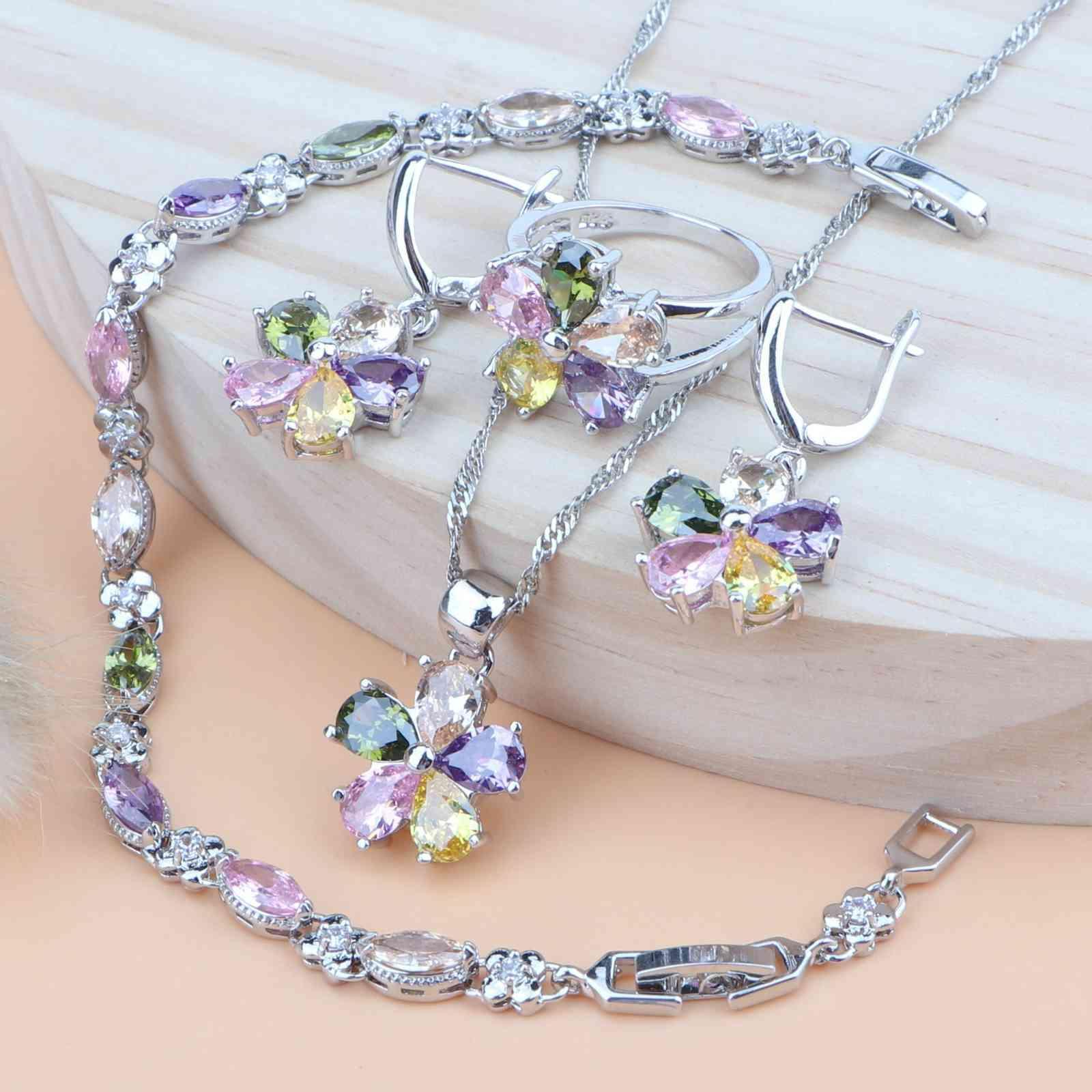 Kadınlar Takı Setleri Çok Renkli Zirkonya Gümüş 925 Kostüm Mücevherat Düğün Hediyesi Kolye Seti Bilezik / Yüzükler / Küpe / Kolye