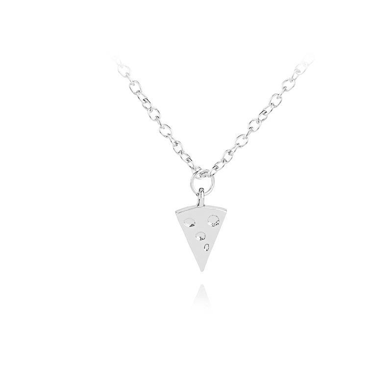Pendant Necklaces 10 Geometric Triangle Pizza Cake Necklace Lucky Good Friends Cheese Charm Clavicle Chain Jewelry