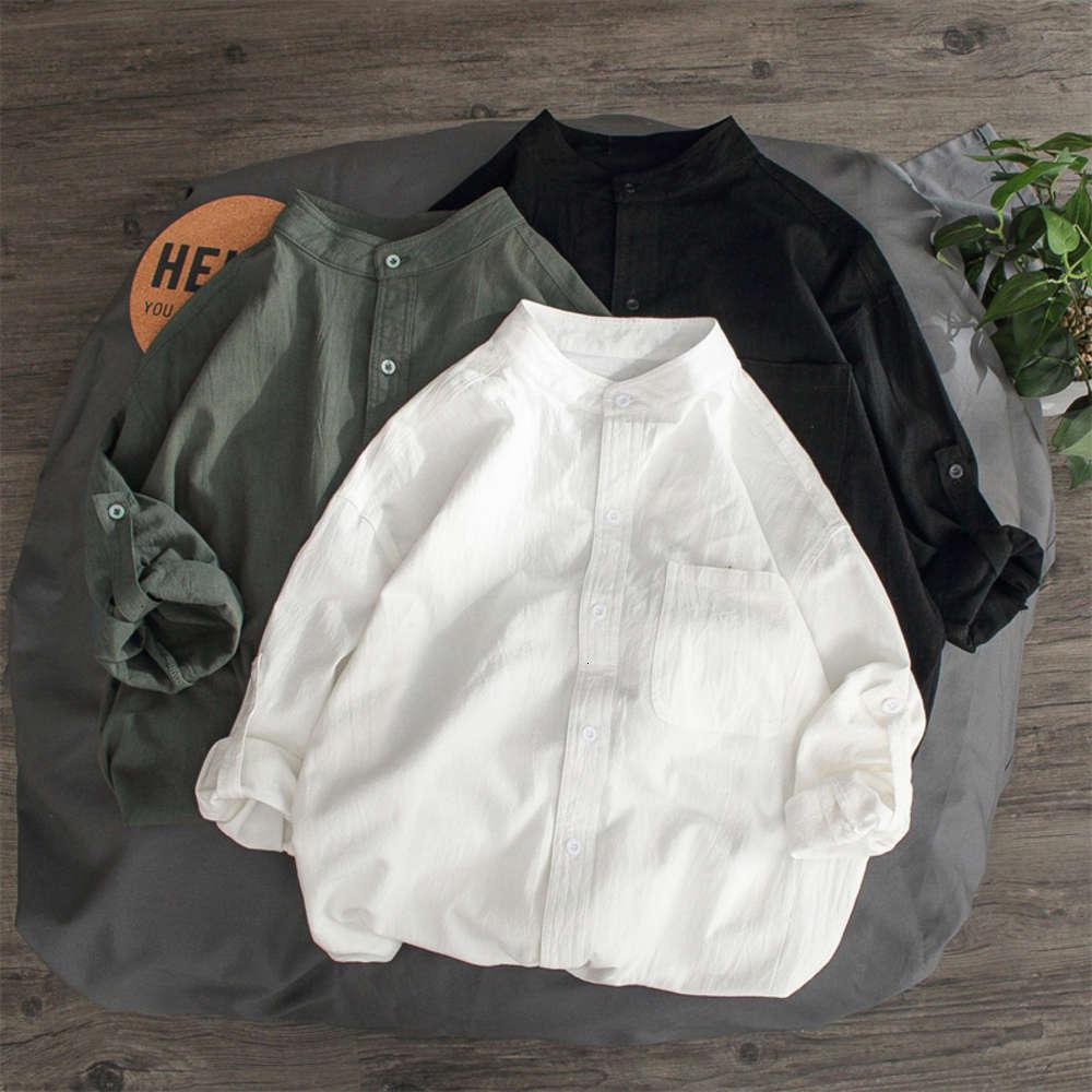 Camicia Bianco Versione coreana da uomo La tendenza di Molto Fata Ruffian Handsome 7/4 Allentato in pollici LWZO