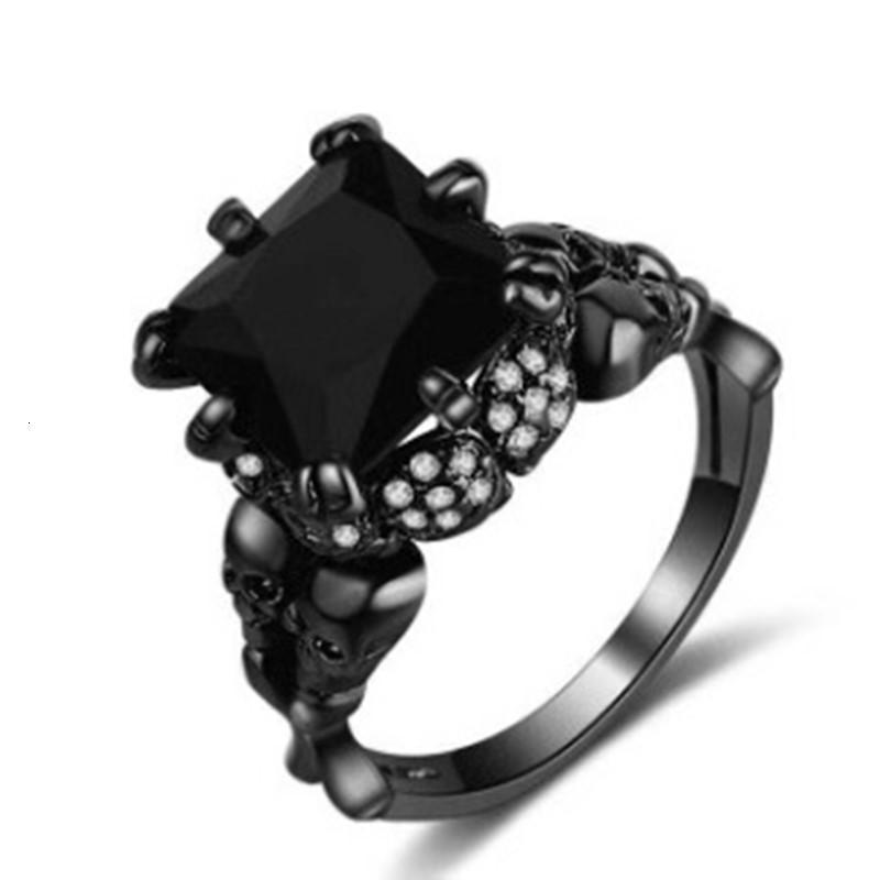 Crâne Noir Zircon noir Bague de bijoux de diamant de luxe plaqué or pour Halloween