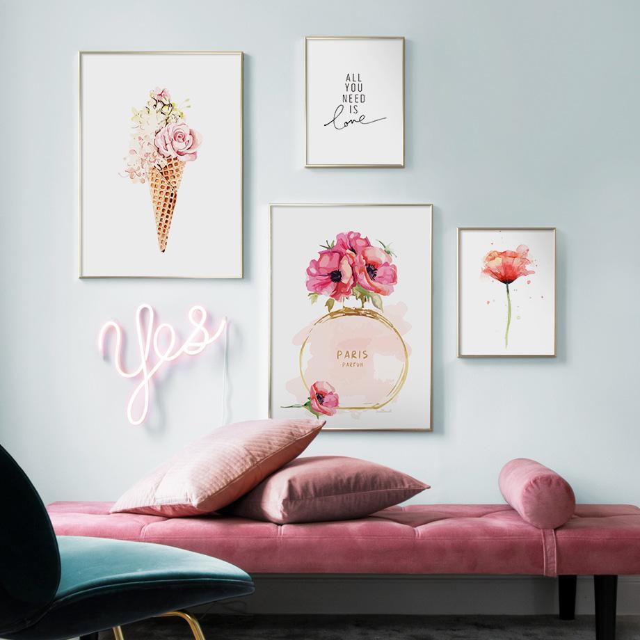 Nordicperfume Çiçekler Dondurma Tırnaklar Duvar Sanatı Kağıt veya Tuval Boyama Manzara Duvar Resimleri Oturma Odası Dekor Için