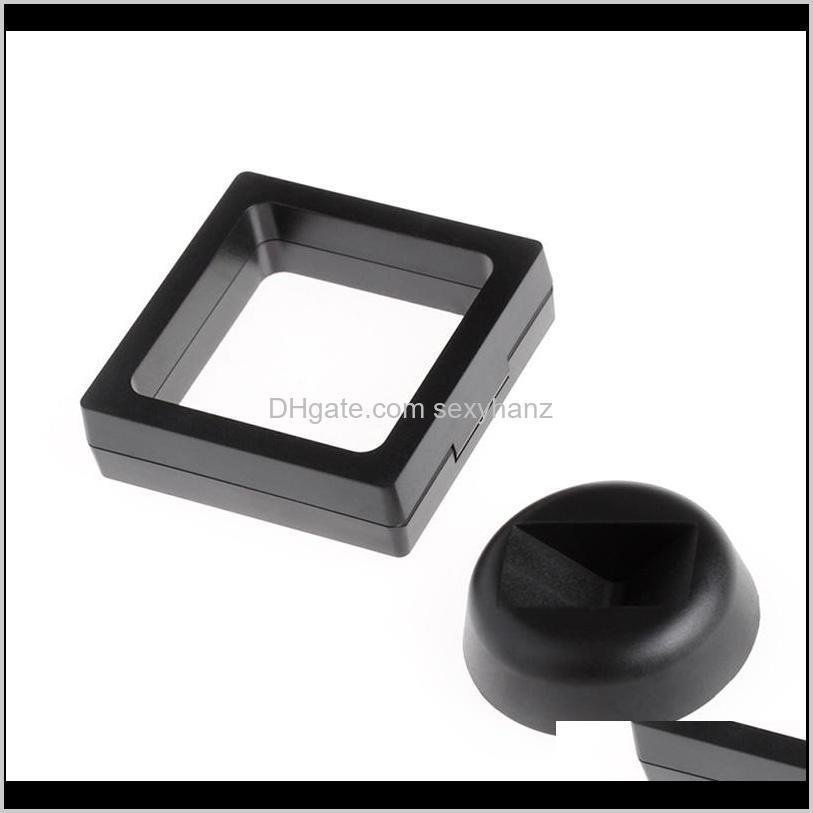 & Drop Delivery 2021 Black White Jewelry Packaging Suspended Floating Display Case Jewellery Coins Gems Artefacts Stand Holder Box Ciqwn