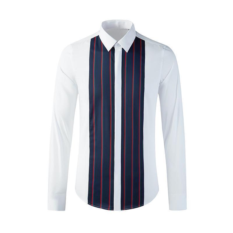 유럽 스타일의 남성복 트렌드 프론트 스티치 스트라이프 셔츠 청소년 긴 소매 비즈니스 캐주얼 라이트 럭셔리 남성 의류 셔츠