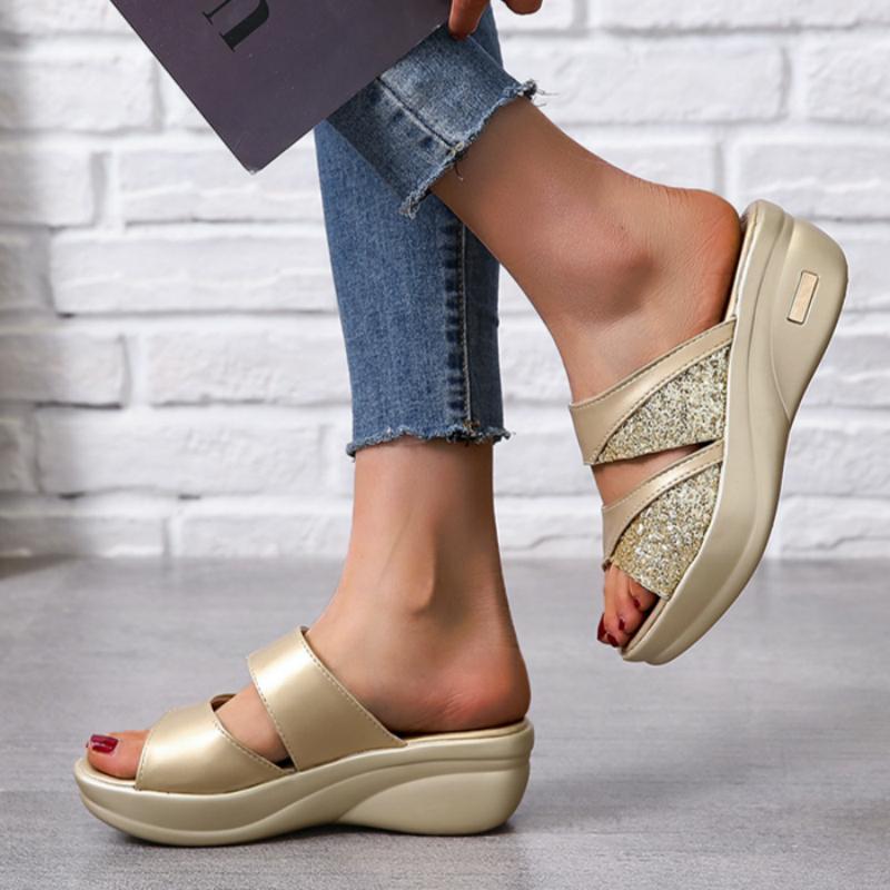 Zapatillas para mujer Summer Suela gruesa Cuñas Suelo de punta abierta Playa al aire libre