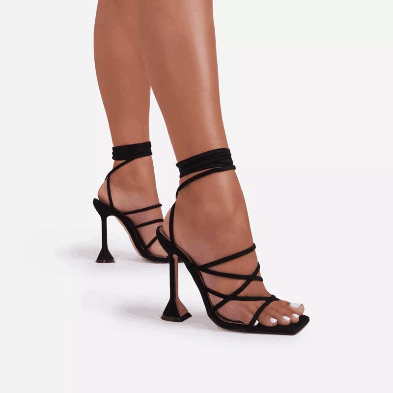 Black stiletto sandálias de salto alto sandálias de moda lace up lady shoes feminino festa do pé quadrado