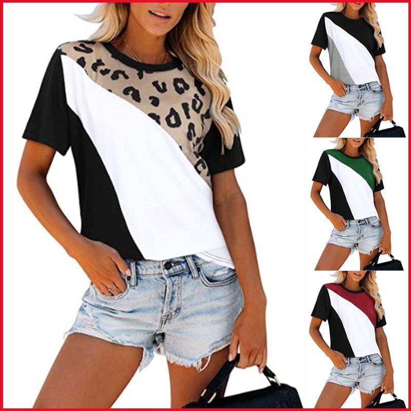 Camiseta de las mujeres de la moda de la mujer de la moda de la moda del leopardo de la impresión del remiendo del tamaño amarillo Tops de las mujeres ocasionales de la manga corta de la O-cuello de las mujeres Tshirts Tshirts Tshirts Mujer Ropa T S