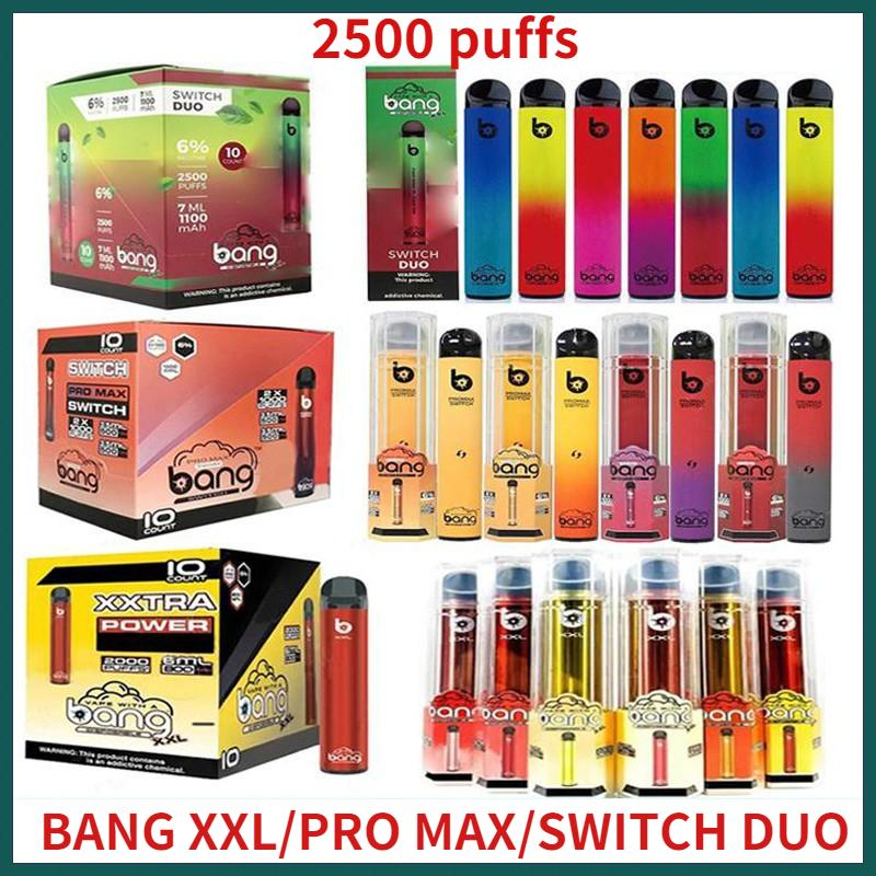 Bang XXL 스위치 듀오 프로 최대 일회용 vape 펜 장치 전자 담배 스타터 키트 2000 2500 퍼프 800mAh 전원 배터리 미리 채워진 6ml 포드 카트리지 증기