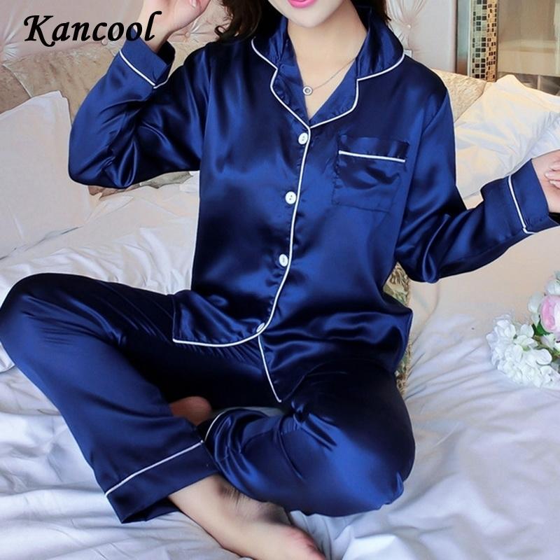 Kancool Womens Silk Satin Pijamas Set de manga larga ropa de dormir Pijamas Traje hembra Dormir de dos piezas Loungewear MÁS TAMAÑO